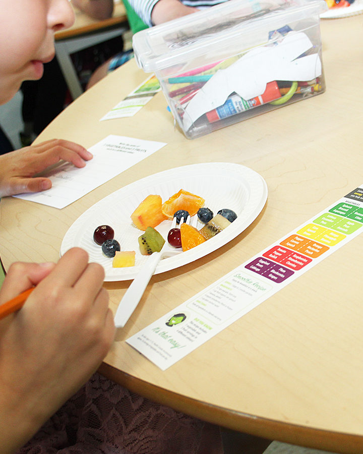 Kids were so concentrated while participating in this exercise of writing down the name of 3 vegetables and 3 fruits in 6 different colours while tasting. #freshisreal #plantbasedkids