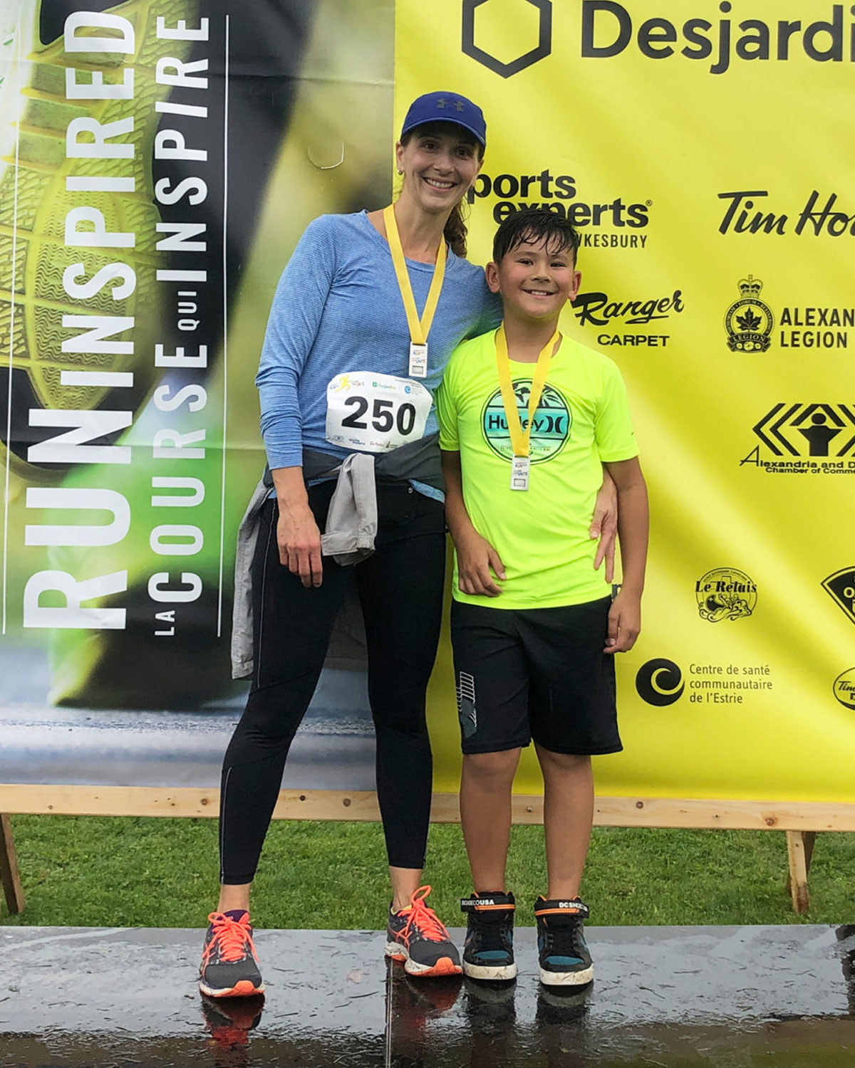 Chantal Secours and son Pierce Liu after running a 5K in Alexandria, ON. September 2019.