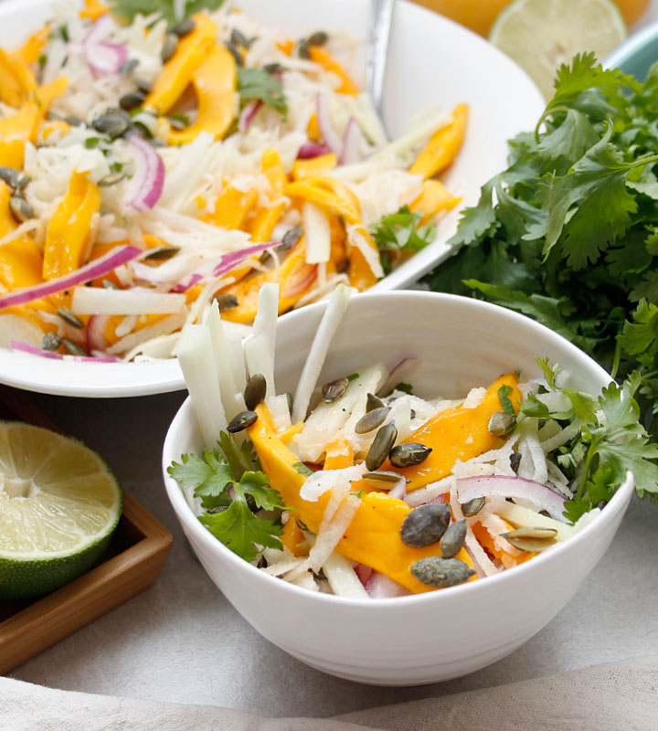 Thinly sliced or grated Jicama Chayote Mango Salad! Fresh and nutritious with only 8 ingredients! freshisreal.com