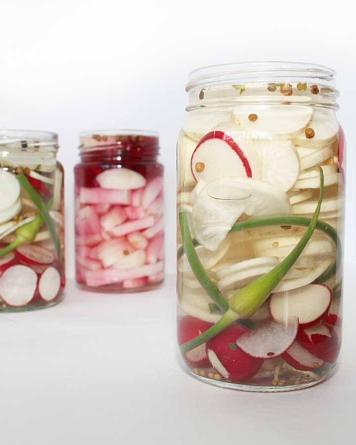 Jars of beautiful laco-fermented vegetables