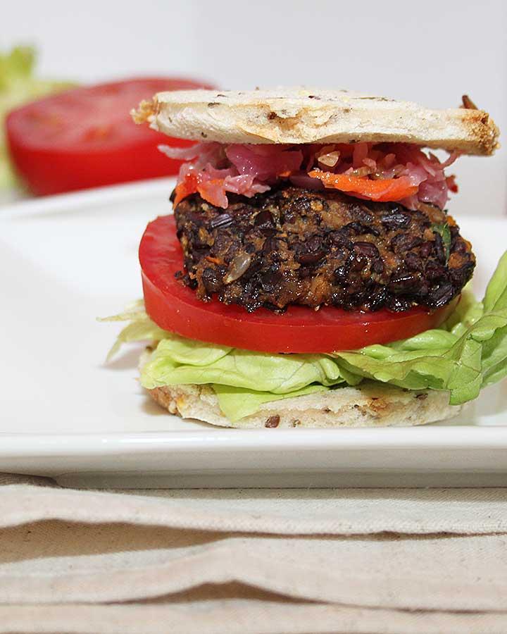 Easy Meatless Burger - Vegan Black Rice Sweet Potato Mushroom Burger - no legumes, no gluten, no nuts, no eggs, completely allergen-friendly   freshisreal.com