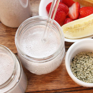 Quick 7-ingredient Vegan Strawberry Banana Hemp Milk will impress you with its shake-style creaminess! An excellent plant-based beverage to boost your intake of protein, fibre, and omegas. Chantal   freshisreal.com