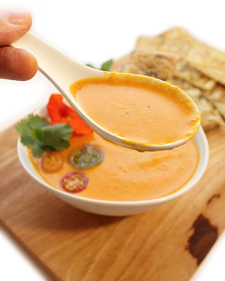 Easy, Dairy-Free, Nutrient-Packed, Vegan Creamy Tomato Soup - This delicious Vegan Creamy Tomato Soup is rich, flavourful, and simple to make. Tested and approved by kids, completely allergen-friendly - freshisreal.com