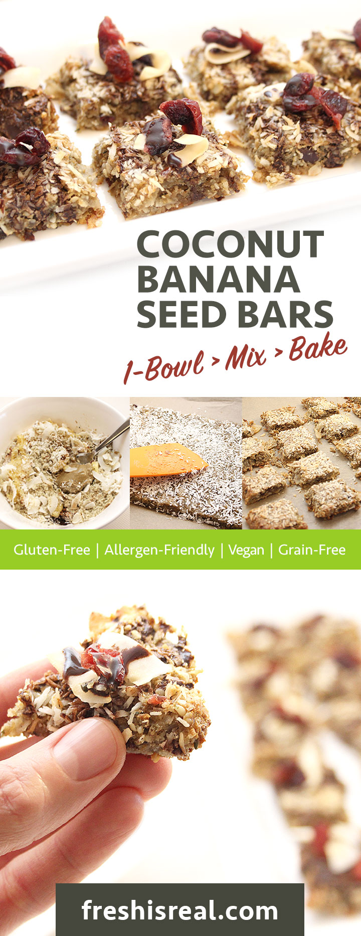 >> Must try Coconut Banana Seed Bars recipe! 1-Bowl > Mix > Bake - Ready in 45 minutes. Gluten-Free | Allergen-Friendly | Vegan | Grain-Free #freshisreal #healthytreats