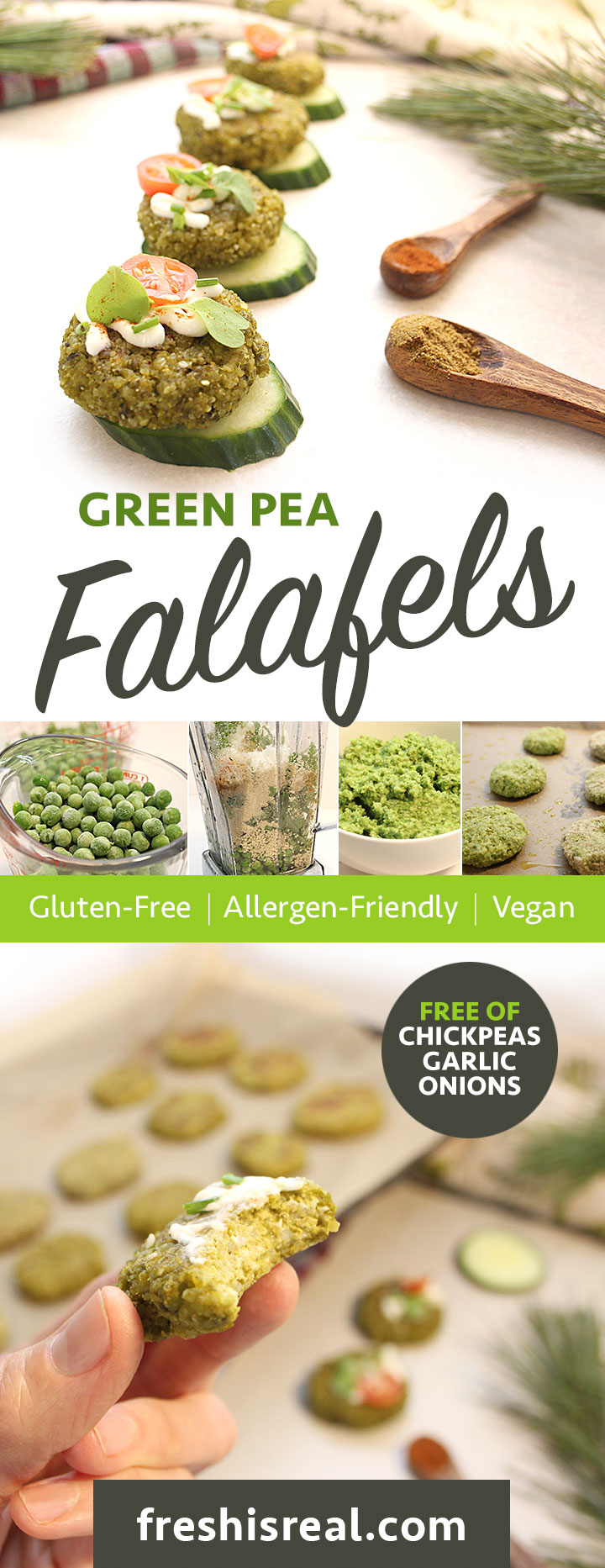 Simple, tasty, oven-baked Green Pea Falafels recipe. Ready in 45 minutes! 8 ingredients + spices! These Green Pea Falafels are a must try! Enjoy them fresh out of the oven! Vegan | Nutritious | Allergen-Friendly - freshisreal.com #freshisreal #falafels #veganfalafel