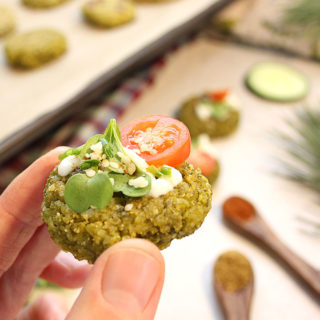 Simple, tasty, oven-baked Green Pea Falafels recipe. Ready in 45 minutes! 8 ingredients + spices! These Green Pea Falafels are a must try! Enjoy them fresh out of the oven! Vegan   Nutritious   Allergen-Friendly - freshisreal.com #freshisreal #falafels #veganfalafel