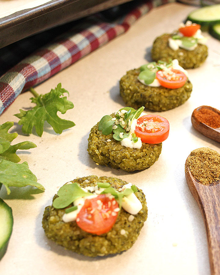 Simple, tasty, oven-baked Green Pea Falafels recipe. Ready in 45 minutes! 8 ingredients + spices! These Green Pea Falafels are a must try! Enjoy them fresh out of the oven! Vegan | Low FODMAP | SIBO Safe | Allergen-Friendly - freshisreal.com #freshisreal #falafels #veganfalafel