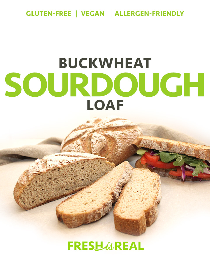 A picture of a beautiful crusty artisan-style free-form Buckwheat Sourdough Loaf Gluten-Free Vegan. Allergen-Friendly. freshisreal.com
