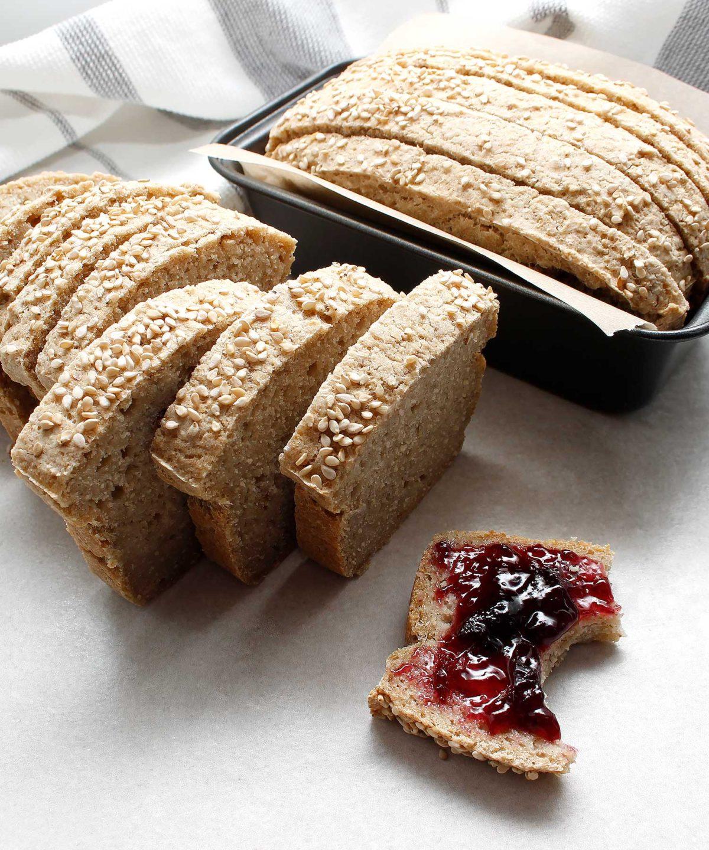 Slice of yeast-free, gluten-free and vegan bread with jam.