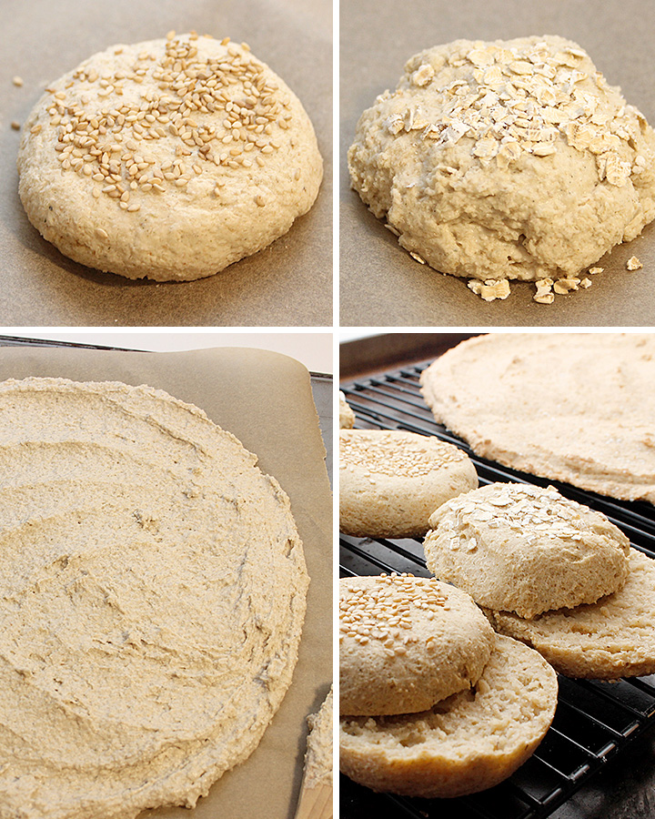Yeast-free GF vegan dough ready to bake as rolls or pizza crust.
