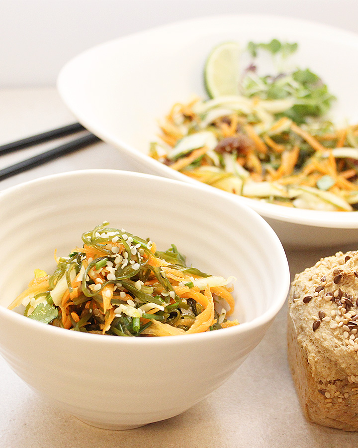 Kombu Seaweed Vegetable Salad with shredded carrots and thinly sliced fennel tossed with simple homemade dressing. freshisreal.com