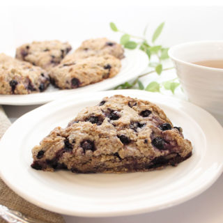 Beautiful Gluten-Free Vegan Blueberry Scones. Prepared without gluten, eggs, or dairy. Easy-to-make and delicious! For recipes visit freshisreal.com