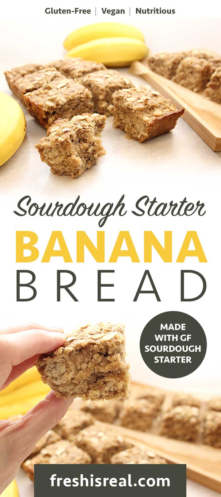 Fresh Sourdough Starter Banana Bread. This quick bread makes 16 servings. Gluten-Free | Vegan | Allergen-Friendly freshisreal.com