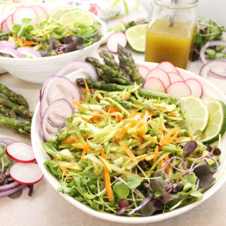 Fresh seasonal asparagus grated and combined with carrots, fresh fennel, cilantro, and apple for an Easy Asparagus Salad. Served with a 5-ingredient dressing made of olive oil, lemon juice, maple syrup, grey sea salt and pepper. Thinly sliced radishes, red onions or chopped green onions, and sprouts make perfect garnishes. Find the recipe at freshisreal.com