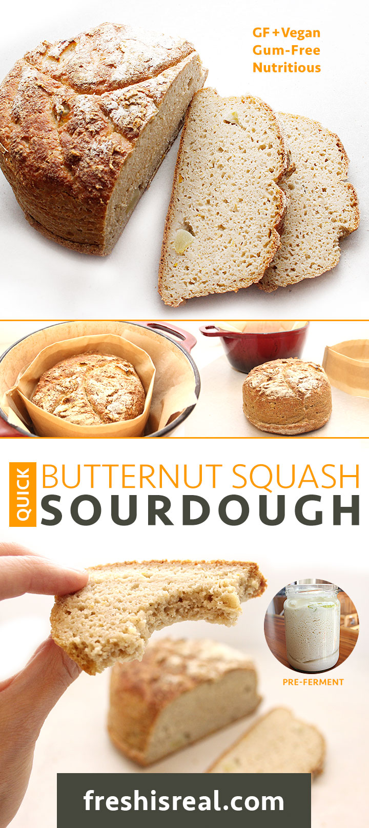 This Quick Butternut Squash Sourdough recipe is simple: combine buckwheat flour, water organic apples and a pinch of active yeast to create a pre-ferment on day one. Then on day two mix your bread ingredients with the pre-ferment and let your bread dough rise for a couple of hours. Bake your loaf at 450 degrees F until crispy on the outside. Find the recipe at freshisreal.com