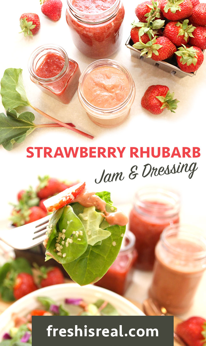 Combine fresh strawberries and rhubarb with a little maple syrup, lemon juice and simmer until some of the liquid evaporates. Refined sugar free. Find the recipe at freshisreal.com