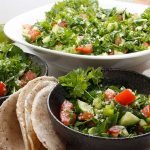 Fresh Garden Tabbouleh Salad served with fresh cassava flatbread