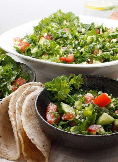 Fresh Garden Tabbouleh Salad served with fresh cassava flatbread