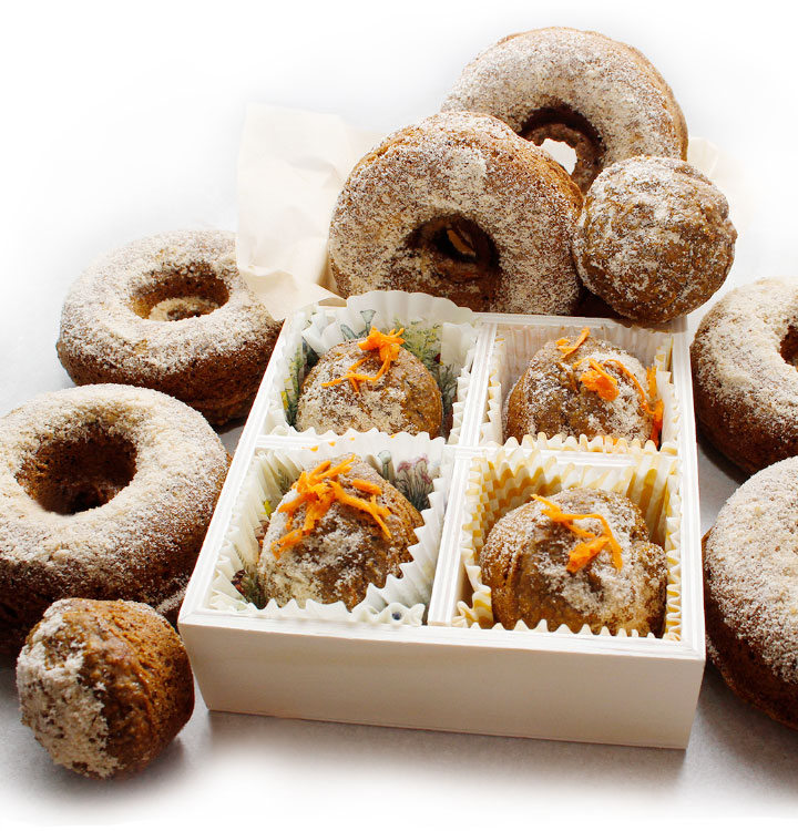 These soft gluten-free vegan oven-baked Carrot Spice Donuts are simply irresistible. This donut recipe is prepared with fresh finely grated carrots, hemp milk, a combination of gluten-free flours and some spices. Find the recipe at freshisreal.com