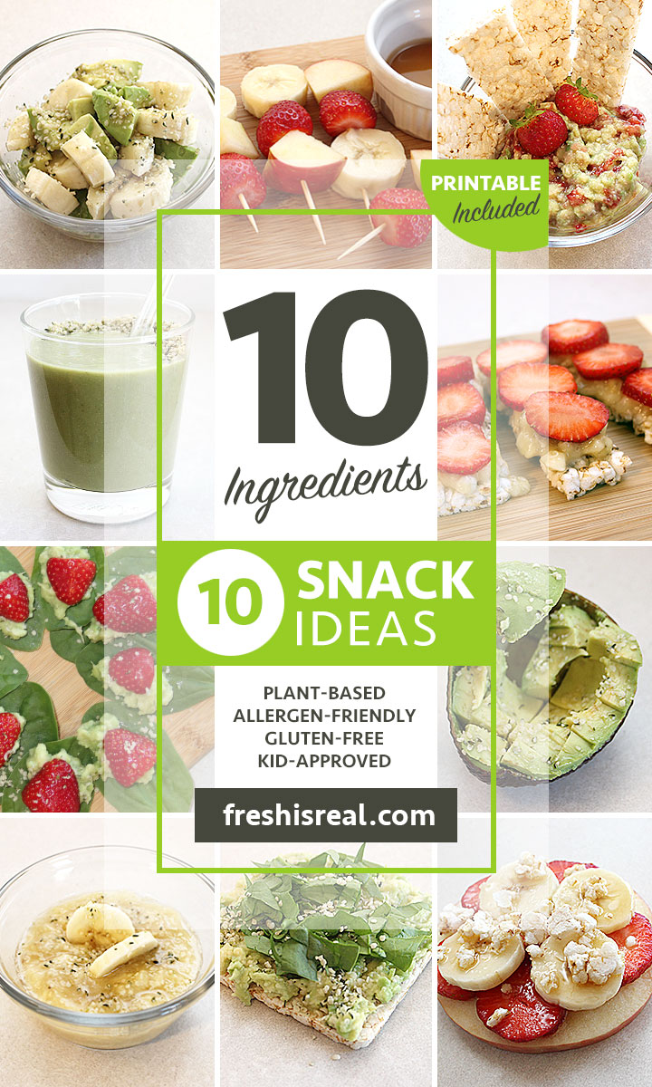 Imagine what you could prepare with fresh avocado, bananas, strawberries, apples, hemp hearts, maple syrup, sea salt, lime, spinach and brown rice cake thins. In this post, you will find 10 ingredients 10 Snack Ideas that are nutritious and quick to prepare.