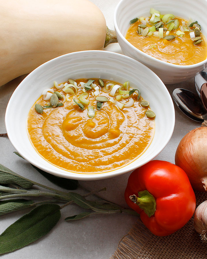 A warm, comforting Butternut Squash Leek Soup recipe that's puréed in the blender for a smoother texture. Plant-based and allergen-friendly. For the recipe, visit freshisreal.com.