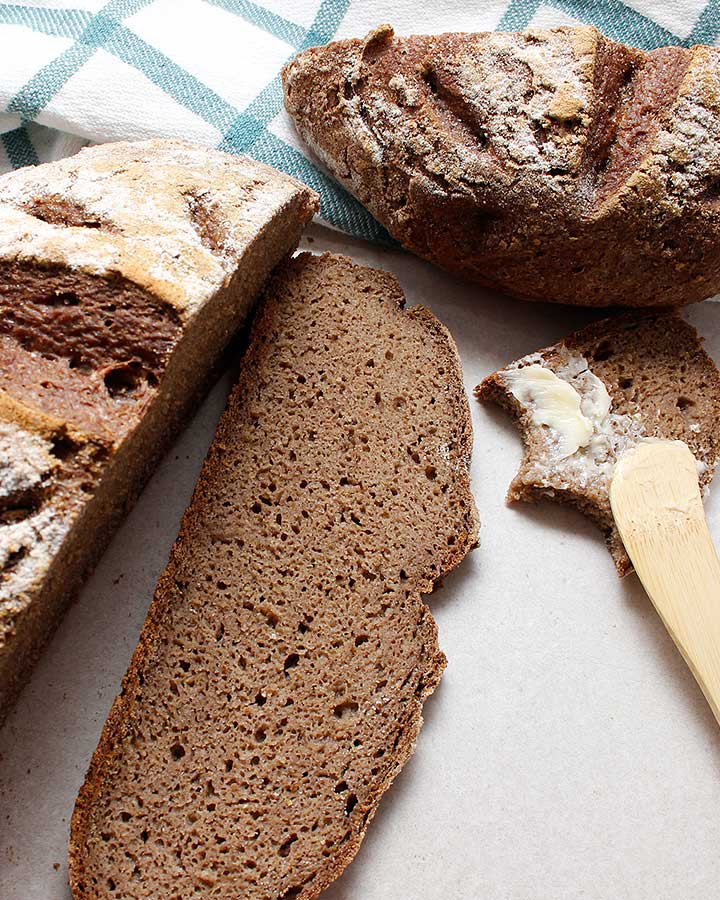 This rustic grain-free loaf will fit in the palms of your hands! It bakes up into a perfect bread boule! Also gluten-free, vegan, nut-free, yeast-free and gum-free! Visit freshisreal.com for the recipe!