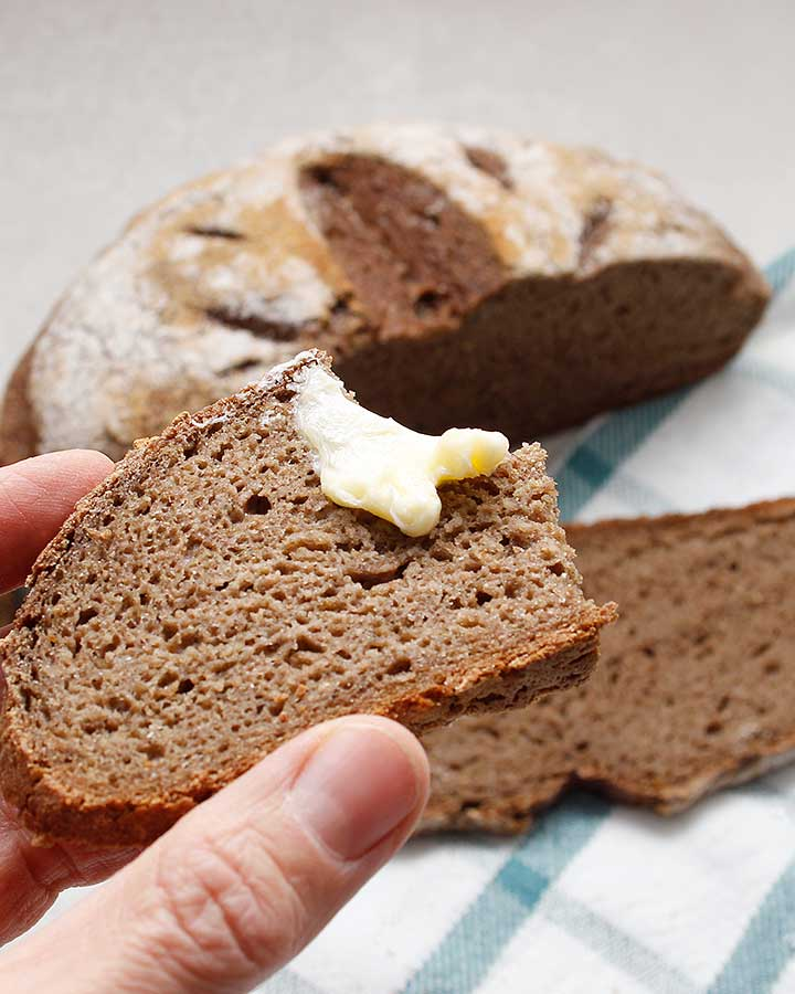 Slice of nutritious grain-free bread with buttery spread.