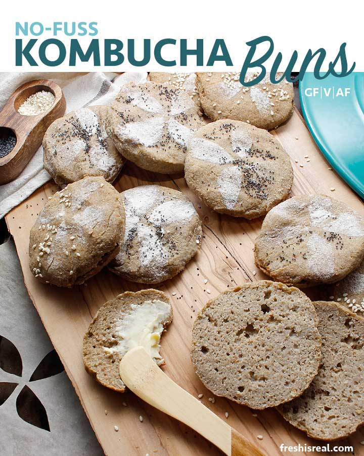 Nutritious Grain-Free Gluten-Free No Fuss Kombucha Buns! Amazing fresh with butter, yummy toasted, perfect sandwich or burger vehicle and an excellent base for mini pizzas. freshisreal.com