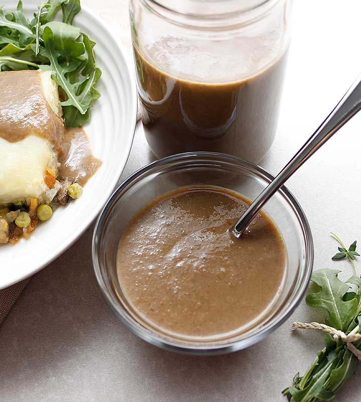 Make this mushroom gravy for your next family dinner! It's The Best Gluten-Free Vegan Gravy! It's allergen-friendly—ideal for many dietary restrictions. freshisreal.com