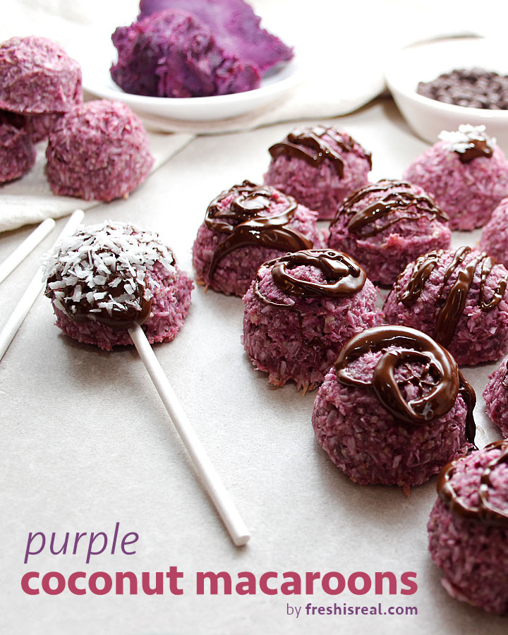 Fresh is Real's Purple Coconut Macaroons are plant-based and allergen-friendly (egg-free, gluten-free, nut-free)! freshisreal.com