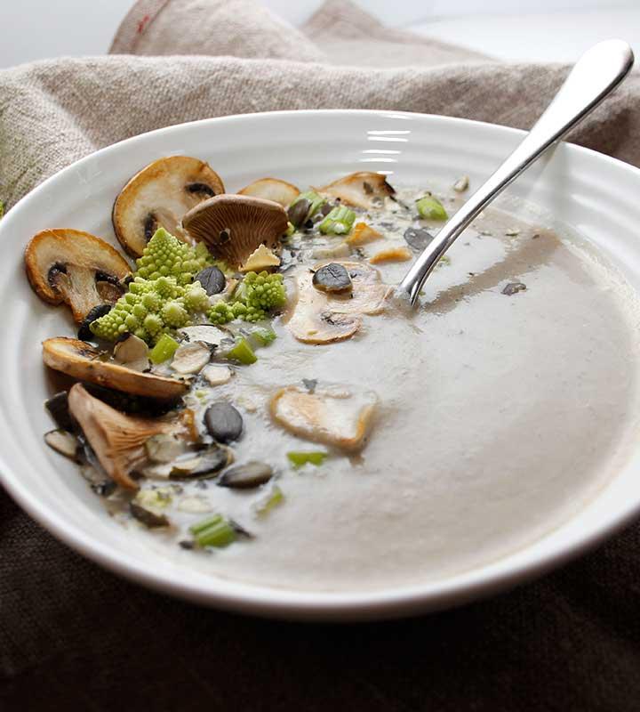 A creamy, yet dairy-free, nutritious cauliflower mushroom soup. Gluten-free, vegan, allergen-friendly. freshisreal.com