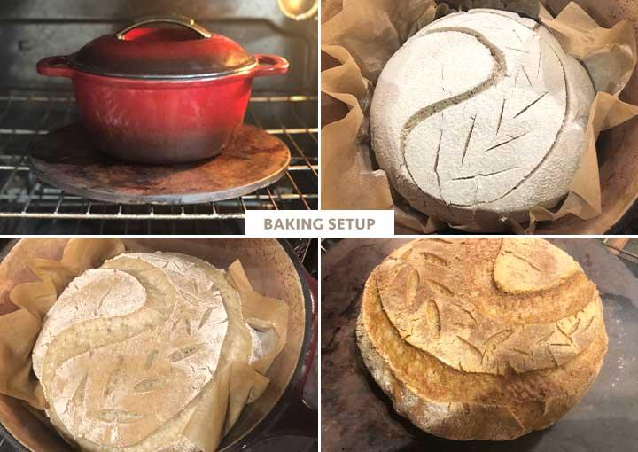 Process photos: 13 to 16 - Baking setup for the gluten-free sourdough