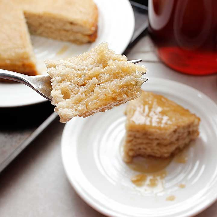 A simple, no junk, Maple Lemon Sourdough Cake treat that is free from gluten, egg, dairy and soy!
