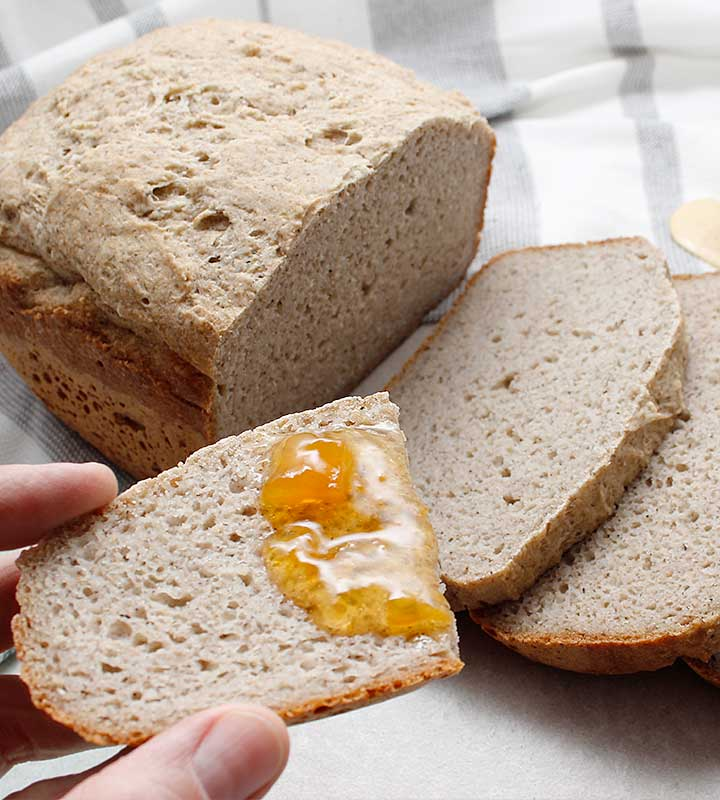Yeasted gluten-free, vegan bread baked in a bread machine! It's the perfect bread recipe for people avoiding top allergens!