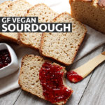 Gluten-free sourdough bread slice with raspberry jam