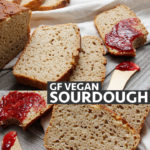 Slices of gluten-free vegan sourdough bread.