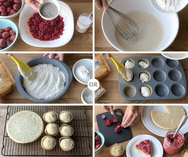 With less than 10 ingredients this gluten-free, egg-free and dairy-free Vanilla Cake dessert is a wonderful treat. Serve it with some Strawberry Chia Pudding and be ready to indulge in a better for you type of dessert! freshisreal.com