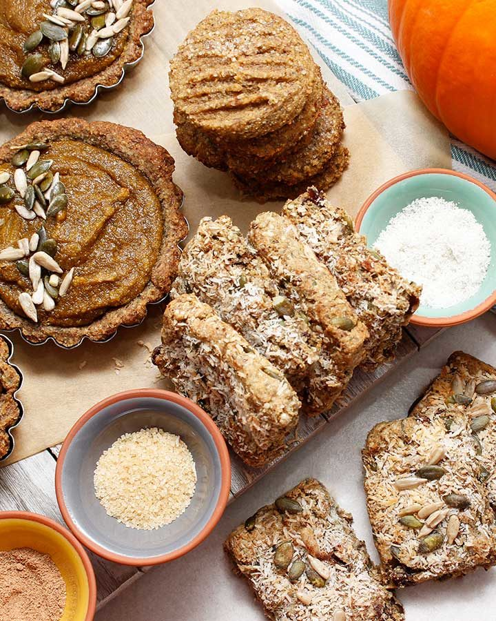 Grain-Free Pumpkin Tarts prepared with raw sunflower and pumpkin seeds, tiger nut flour and organic pumpkin purée with a few additional allergen-friendly ingredients.