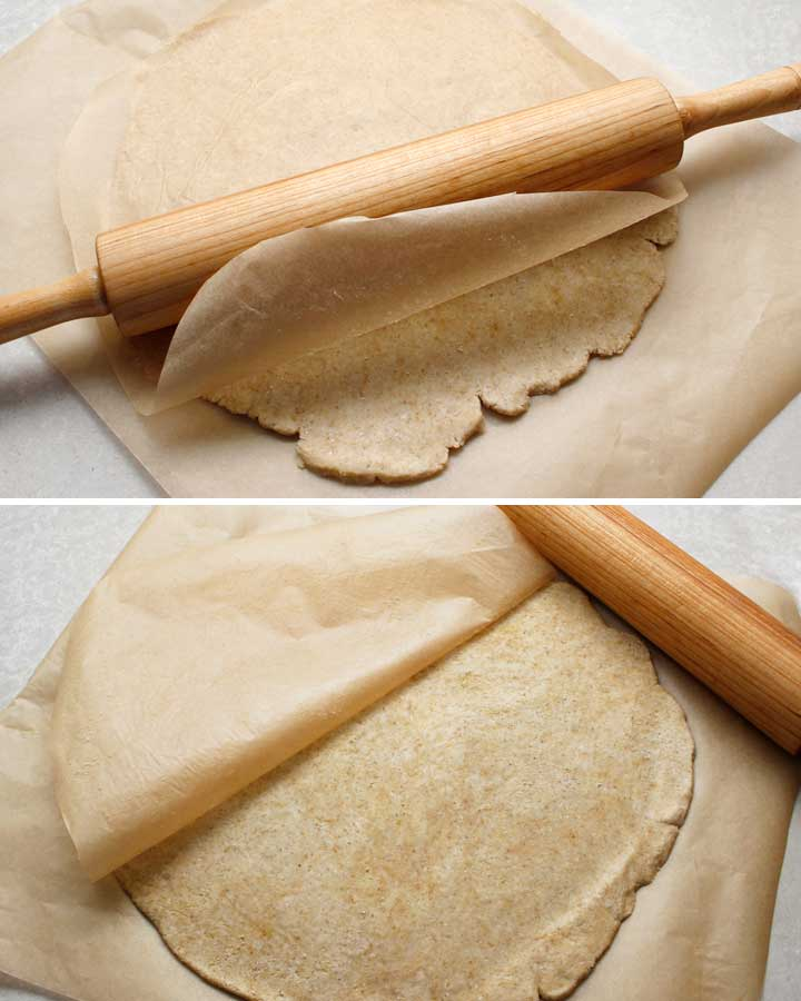 Rolling out the pie crust for the gluten-free rustic pie galette.