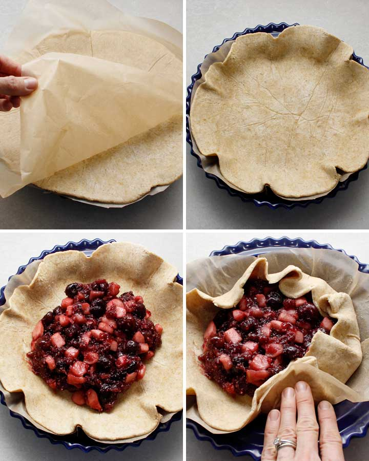 Steps to fill and fold the rustic pie galette crust.