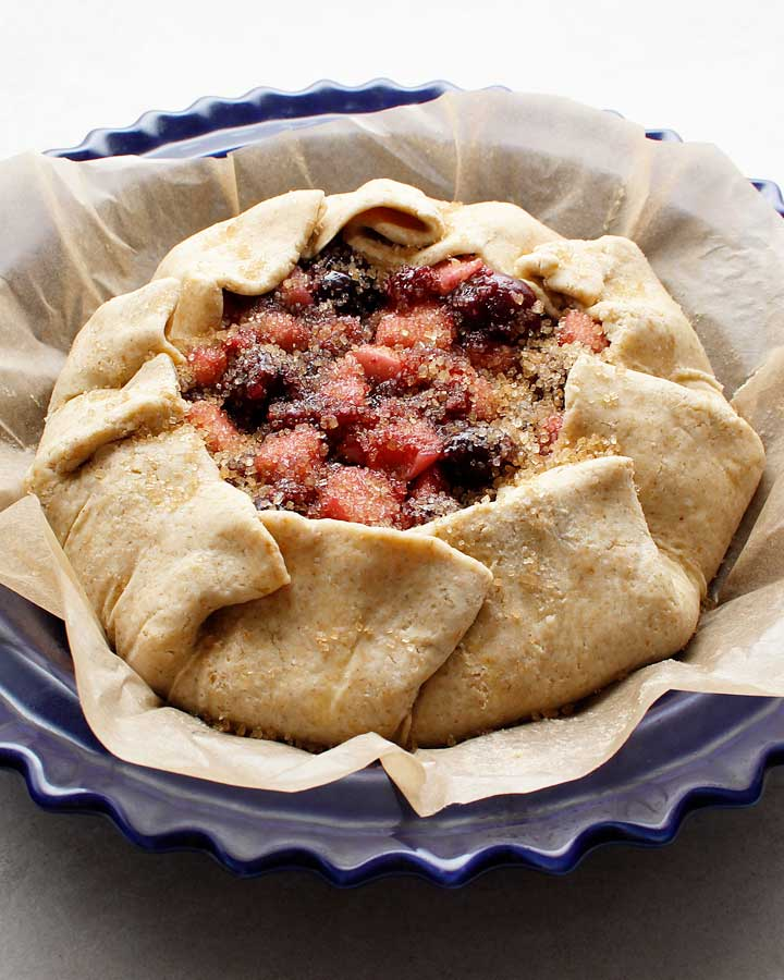 Sprinkle some turbinado sugar overtop the gluten-free vegan rustic pie galette for the perfect final touch.