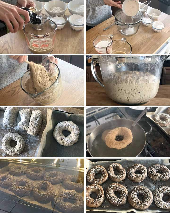 Process photos: Yeasted gluten-free, vegan and allergen-friendly bagels.