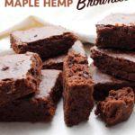 Maple Hemp Brownies cut into squares.