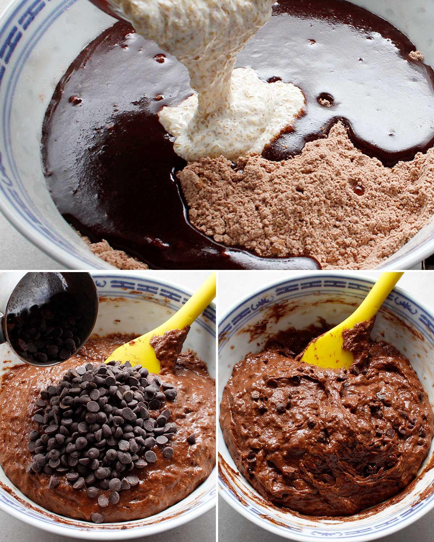Ingredients for gluten-free vegan brownie mixture.