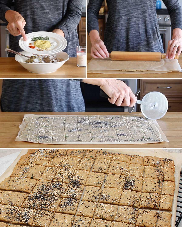 Preparation photos of some homemade GF sourdough crackers.