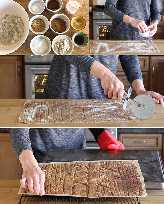 Process photos of homemade GF sourdough cereal