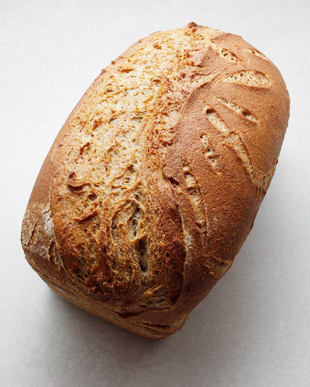 Top view of wild yeast bread