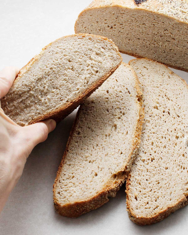 Showing squishy gluten-free wild yeast bread