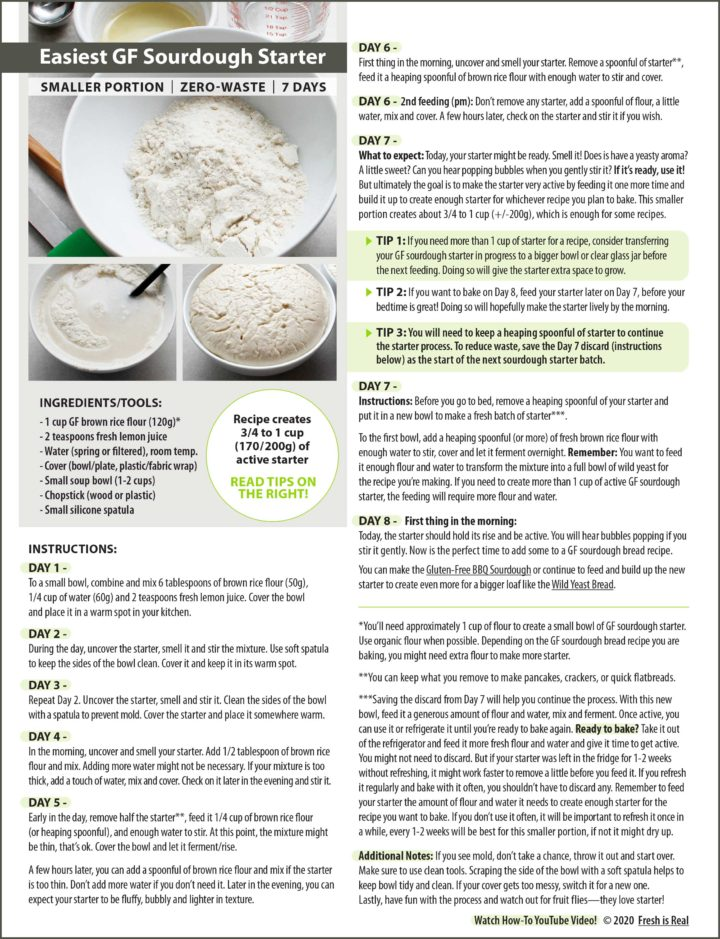 Graphic showing step-by-step instructions to make GF sourdough starter