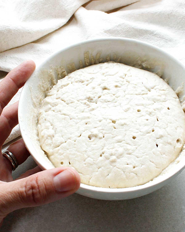 Hand beside small bowl of gluten-free sourdough starter.